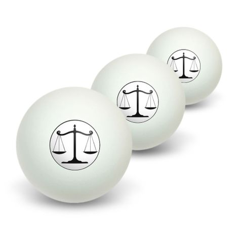Balanced Scales of Justice Symbol Legal Lawyer White and Black Novelty Table Tennis Ping Pong Ball 3 Pack