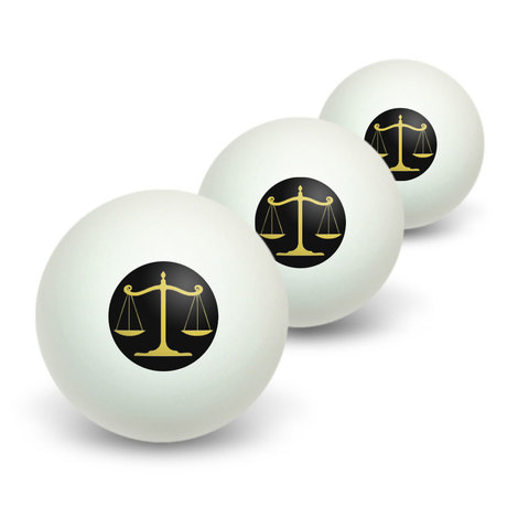 Balanced Scales of Justice Symbol Legal Lawyer Gold and Black Novelty Table Tennis Ping Pong Ball 3 Pack