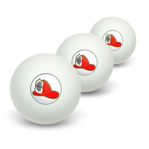 Fire Fighter Helmet - Fire Department on White Novelty Table Tennis Ping Pong Ball 3 Pack