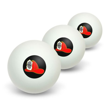 Fire Fighter Helmet - Fire Department on Black Novelty Table Tennis Ping Pong Ball 3 Pack