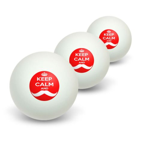 Keep Calm and Mustache - Red Novelty Table Tennis Ping Pong Ball 3 Pack