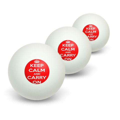 Keep Calm and Carry On Red Novelty Table Tennis Ping Pong Ball 3 Pack