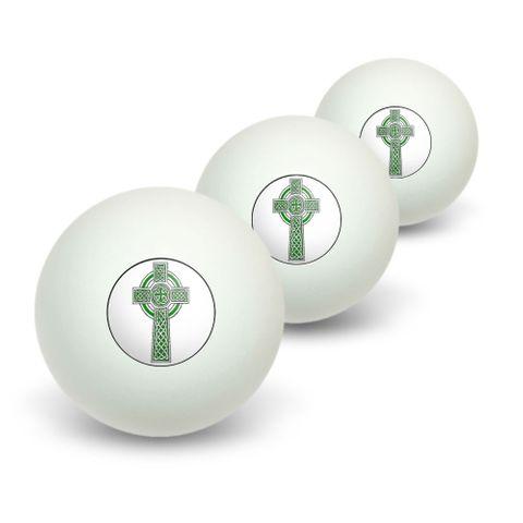 Celtic Christian Cross - Irish Ireland Scotland Scottish - Green White Novelty Table Tennis Ping Pong Ball 3 Pack