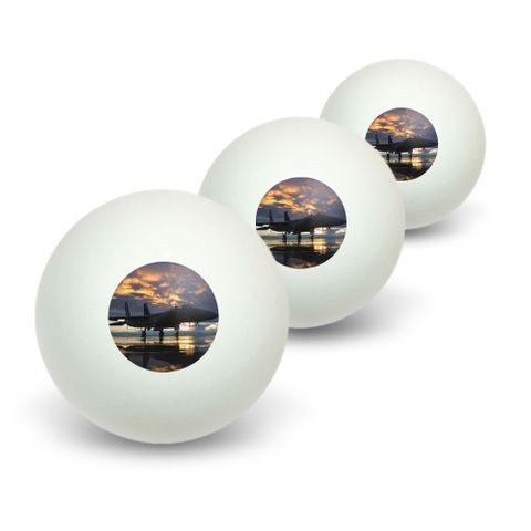 Aircraft Jet Fighter at Sunset - Air Force Novelty Table Tennis Ping Pong Ball 3 Pack