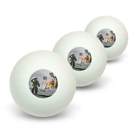 Astronaut Moon Landing - American Flag Novelty Table Tennis Ping Pong Ball 3 Pack