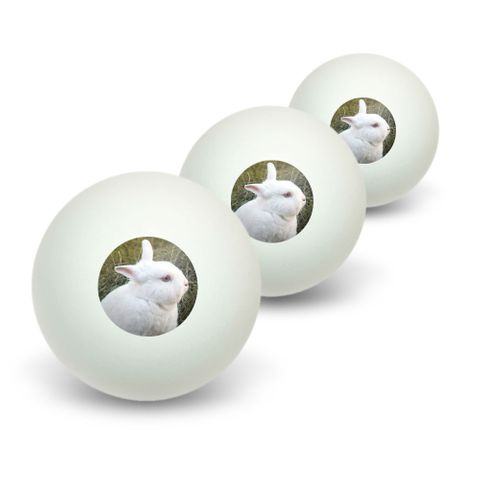 Bunny Rabbit White - Easter Novelty Table Tennis Ping Pong Ball 3 Pack
