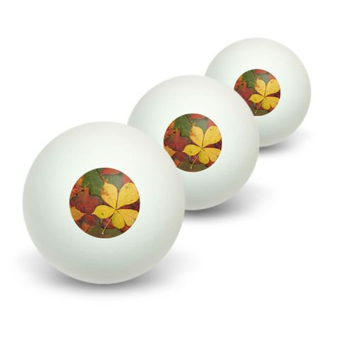 Colorful Autumn Fall Leaves Novelty Table Tennis Ping Pong Ball 3 Pack