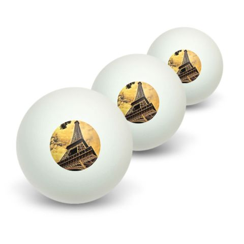Eiffel Tower Paris Vintage Novelty Table Tennis Ping Pong Ball 3 Pack