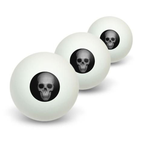 Human Skull - Front View Novelty Table Tennis Ping Pong Ball 3 Pack
