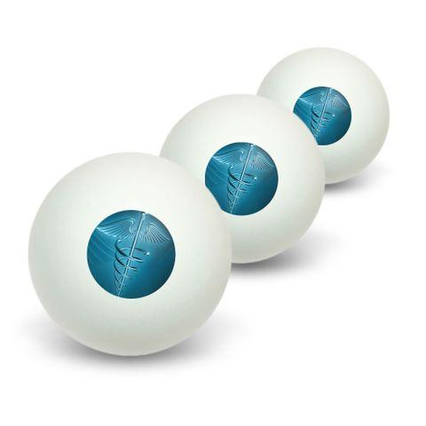 Medical Caduceus Symbol - EMT RN MD Novelty Table Tennis Ping Pong Ball 3 Pack