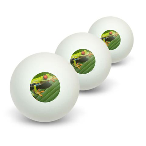 Red Eyed Tree Frog Novelty Table Tennis Ping Pong Ball 3 Pack