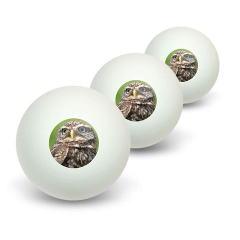 Tiny Little Small Owl Novelty Table Tennis Ping Pong Ball 3 Pack