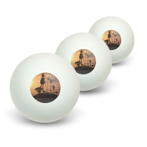 Tropical Deserted Island - Palm Trees Ocean Beach Novelty Table Tennis Ping Pong Ball 3 Pack
