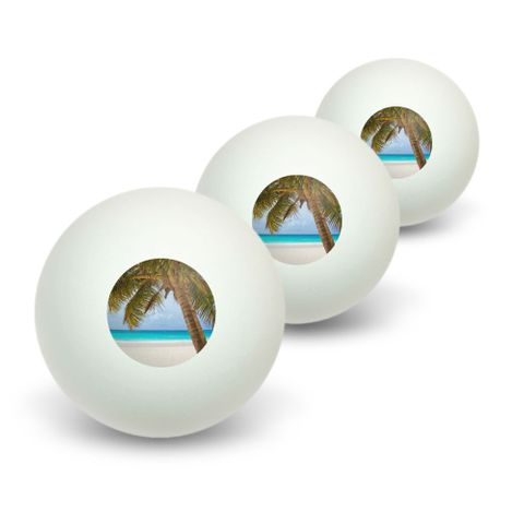 Tropical Palm Tree Ocean Beach Novelty Table Tennis Ping Pong Ball 3 Pack