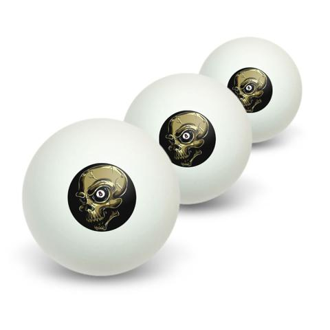 Eight Ball Skull - Billiards Pool Novelty Table Tennis Ping Pong Ball 3 Pack