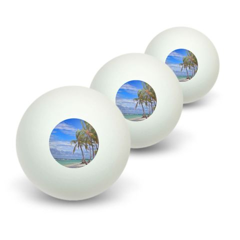 Tropical Beach - Island Sky Clouds Vacation Novelty Table Tennis Ping Pong Ball 3 Pack