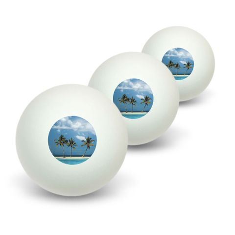 Tropical Deserted Island - Beach Ocean Novelty Table Tennis Ping Pong Ball 3 Pack