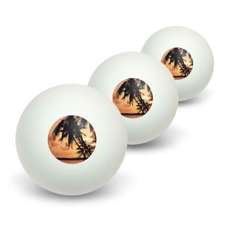 Tropical Island Beach Sunset Sunrise Novelty Table Tennis Ping Pong Ball 3 Pack