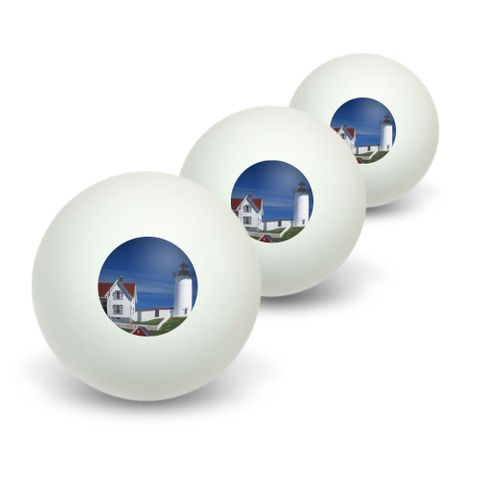 Nubble Light Lighthouse Maine ME Novelty Table Tennis Ping Pong Ball 3 Pack
