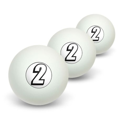 2 Number Two Novelty Table Tennis Ping Pong Ball 3 Pack