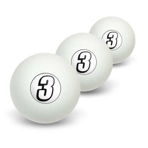 3 Number Three Novelty Table Tennis Ping Pong Ball 3 Pack