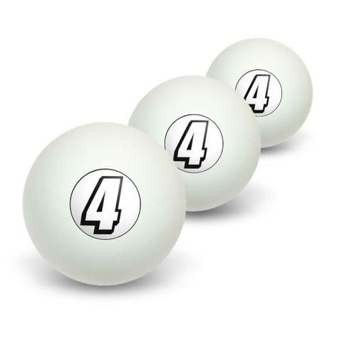 4 Number Four Novelty Table Tennis Ping Pong Ball 3 Pack