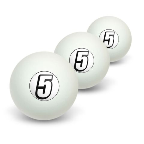 5 Number Five Novelty Table Tennis Ping Pong Ball 3 Pack