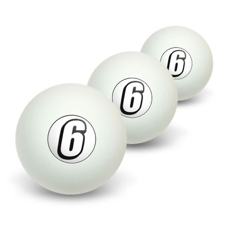 6 Number Six Novelty Table Tennis Ping Pong Ball 3 Pack