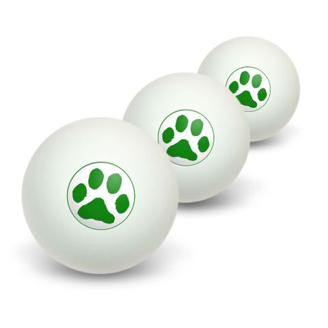 Paw Print - Green Novelty Table Tennis Ping Pong Ball 3 Pack