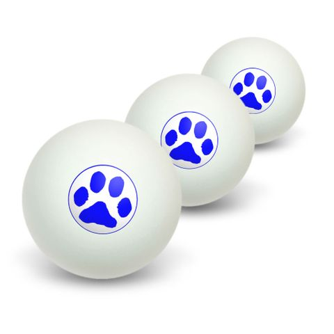 Paw Print - Blue Novelty Table Tennis Ping Pong Ball 3 Pack