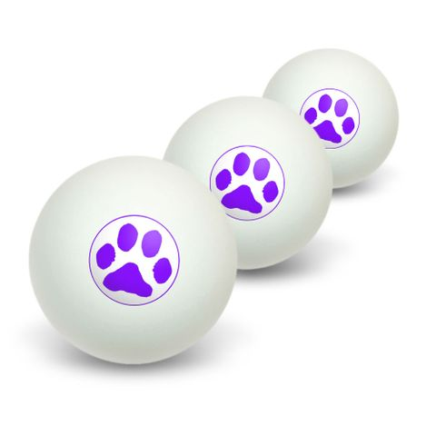 Paw Print - Purple Novelty Table Tennis Ping Pong Ball 3 Pack