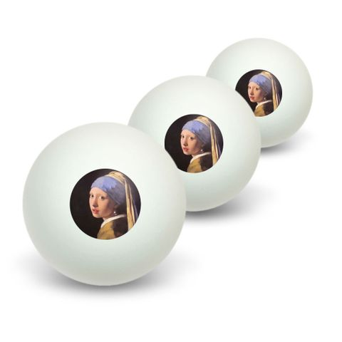 The girl with the pearl earring by Vermeer Novelty Table Tennis Ping Pong Ball 3 Pack