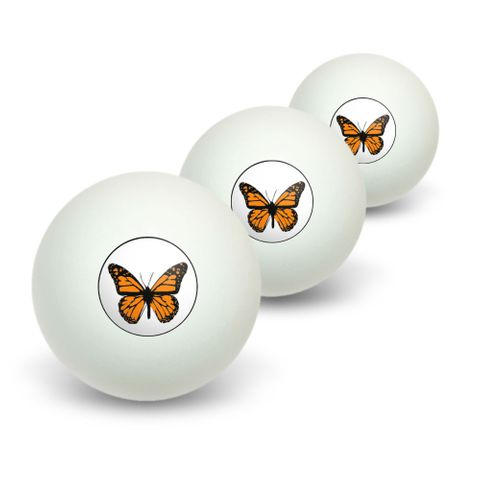 Monarch Butterfly Novelty Table Tennis Ping Pong Ball 3 Pack