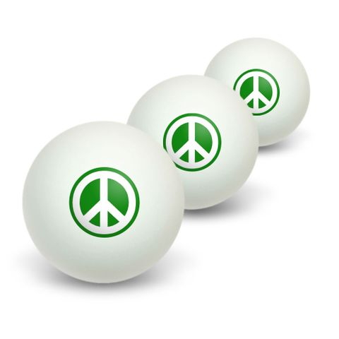 Peace Sign Symbol - Green Novelty Table Tennis Ping Pong Ball 3 Pack