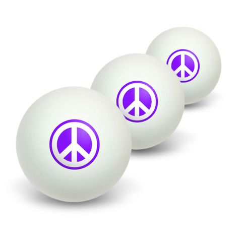 Peace Sign Symbol - Purple Novelty Table Tennis Ping Pong Ball 3 Pack
