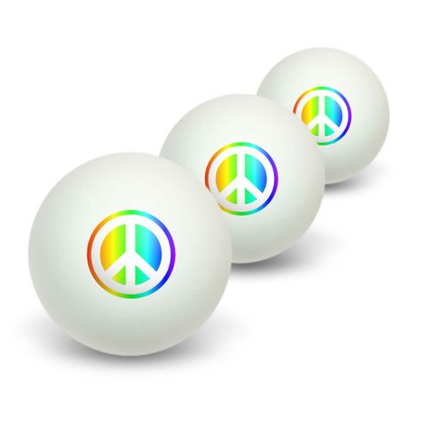Peace Sign Symbol - Rainbow Novelty Table Tennis Ping Pong Ball 3 Pack