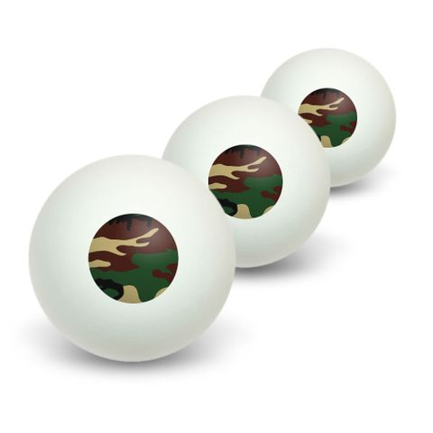 Camouflage Army Soldier Novelty Table Tennis Ping Pong Ball 3 Pack