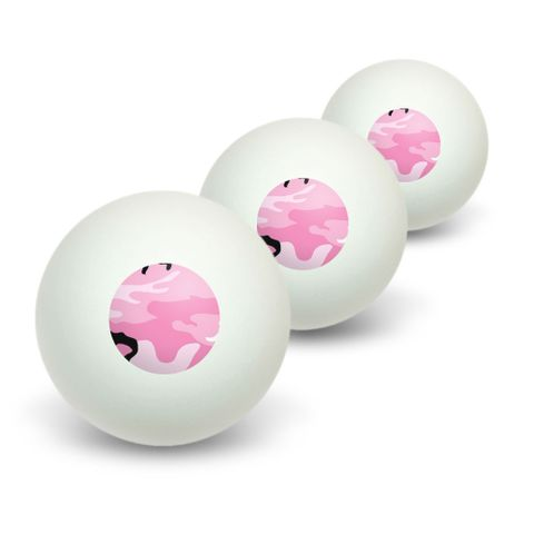 Pink Camouflage Army Soldier Novelty Table Tennis Ping Pong Ball 3 Pack