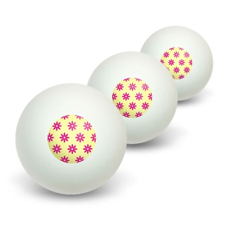 Flowers Pink Novelty Table Tennis Ping Pong Ball 3 Pack