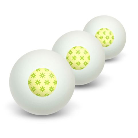Flowers Lime Green Novelty Table Tennis Ping Pong Ball 3 Pack