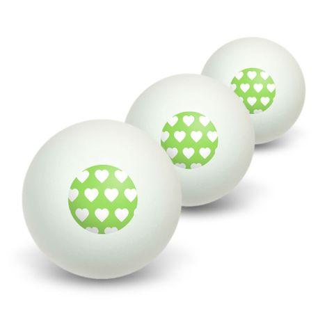 Sweet Heart Pattern Green Novelty Table Tennis Ping Pong Ball 3 Pack