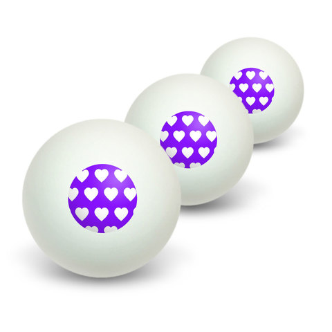 Sweet Heart Pattern Purple Novelty Table Tennis Ping Pong Ball 3 Pack