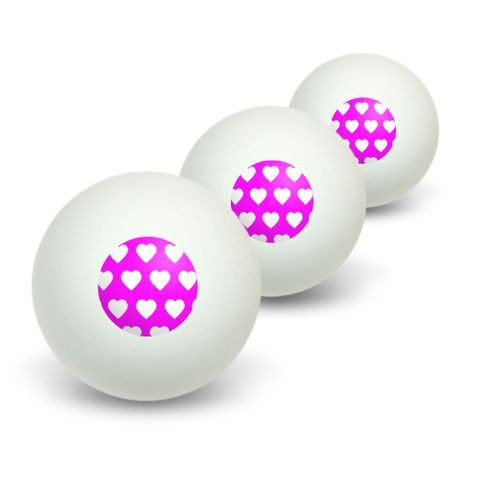 Sweet Heart Pattern Hot Pink Novelty Table Tennis Ping Pong Ball 3 Pack