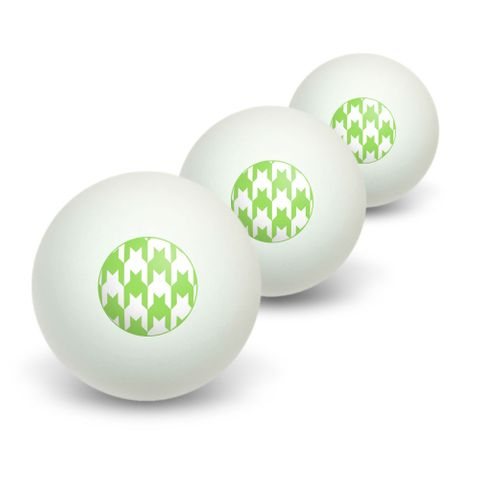 Preppy Houndstooth White Green Novelty Table Tennis Ping Pong Ball 3 Pack
