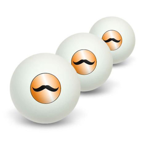 Mustache Funny Orange Novelty Table Tennis Ping Pong Ball 3 Pack