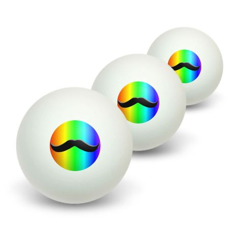 Mustache Funny Rainbow Novelty Table Tennis Ping Pong Ball 3 Pack