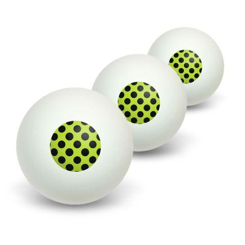 Polka Dots Black Lime Green Novelty Table Tennis Ping Pong Ball 3 Pack
