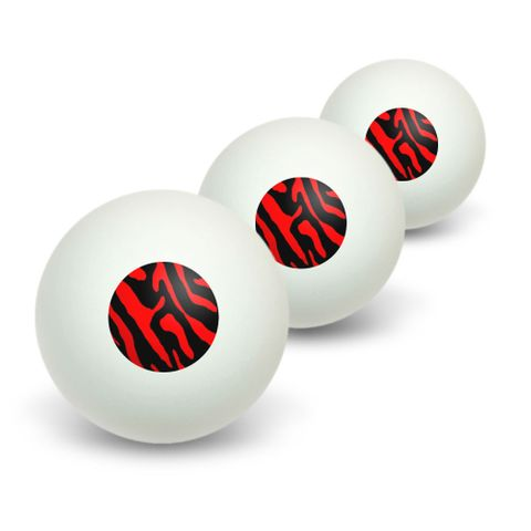 Zebra Print Black Red Novelty Table Tennis Ping Pong Ball 3 Pack