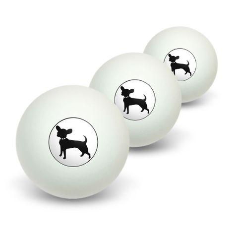 Chihuahua Novelty Table Tennis Ping Pong Ball 3 Pack