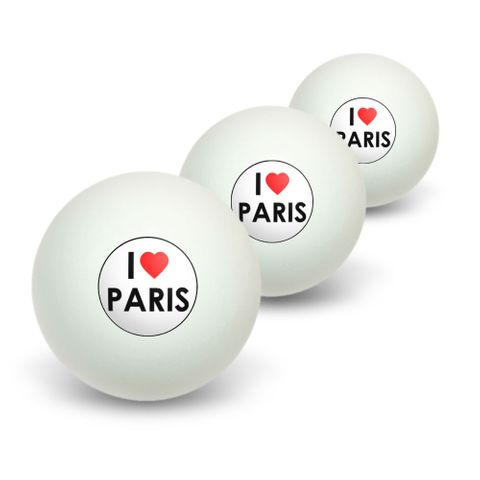 I Love Heart Paris Novelty Table Tennis Ping Pong Ball 3 Pack